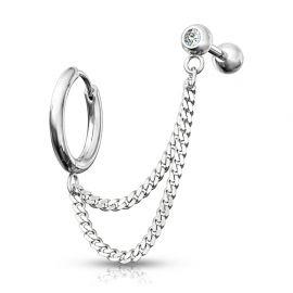 Double piercing cartilage oreille chaines anneau barbell