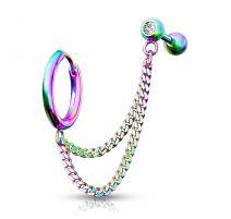 Double piercing cartilage oreille chaines anneau barbell multicolore