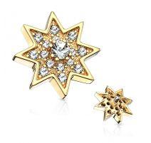 Piercing microdermal étoile étincelante plaqué or pavée de strass