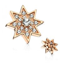 Piercing microdermal étoile étincelante plaqué or rose pavée