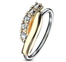 Piercing nez anneau pliable barre dorée strass blancs