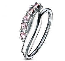 Piercing nez anneau pliable barre strass roses