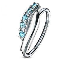 Piercing nez anneau pliable barre strass turquoise