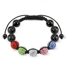 Bracelet Shamballa billes métalliques Crystal 5 Couleurs