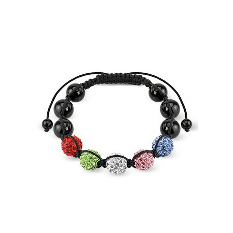 Bracelet Shamballa avec billes métalliques et Crystal 5 Couleurs