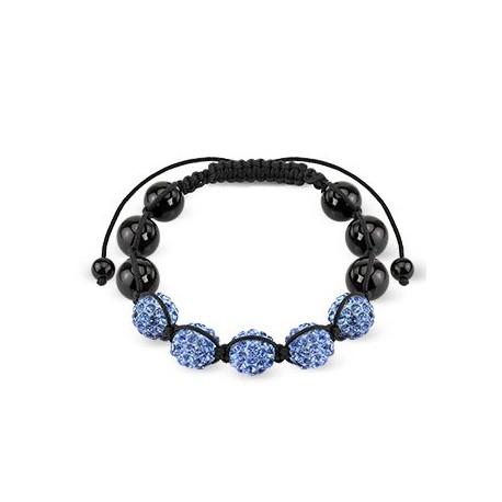 Bracelet Shamballa avec billes métalliques et Crystal Bleu clair