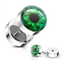 Piercing oreille faux plug oeil vert
