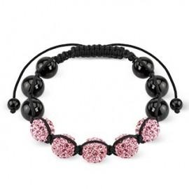 Bracelet Shamballa avec billes métalliques et Crystal Rose