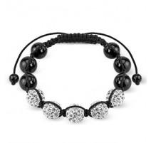 Bracelet Shamballa avec billes métalliques et Crystal férido
