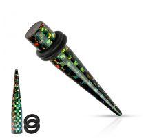 Piercing écarteur acrylique damier multicolore