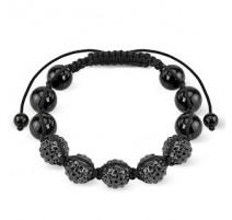 Bracelet Shamballa avec billes métalliques et Crystal Noir