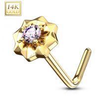 Piercing nez Or jaune 14 carats étoile à pierre rose