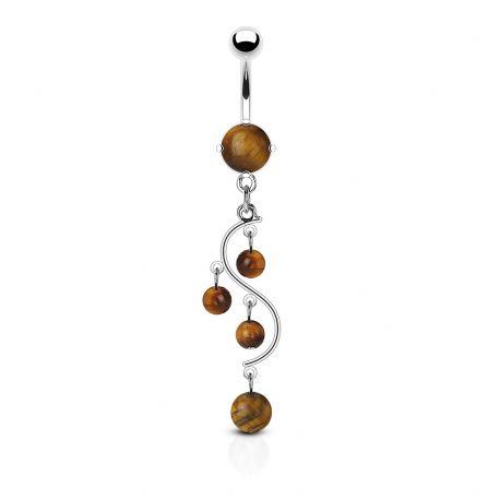 Piercing nombril vigne pierres semi précieuses