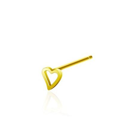 Piercing nez Argent Tige Pliable Coeur Doré