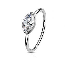 Piercing nez anneau pliable zirconium marquise