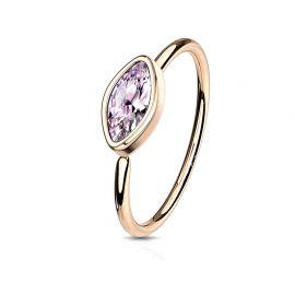 Piercing nez anneau pliable plaqué or rose zirconium marquise