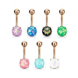 Piercing nombril or rose opale paillettée