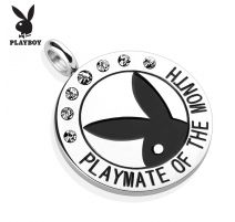 """Pendentif Playboy """"Playmate of the month"""" gemmes blancs"""