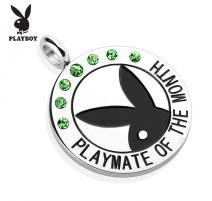 """Pendentif Playboy """"Playmate of the month"""" gemmes verts"""