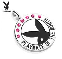 """Pendentif Playboy """"Playmate of the month"""" gemmes roses"""