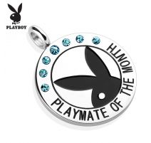 """Pendentif Playboy """"Playmate of the month"""" gemmes turquoises"""
