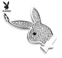 Pendentif Playboy Logo gemmes blancs