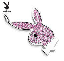 Pendentif Playboy Logo gemmes roses