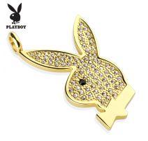Pendentif Playboy Logo doré gemmes blancs
