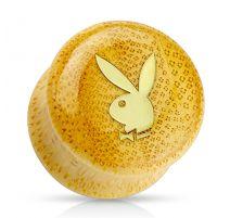 Piercing plug bois Playboy logo doré