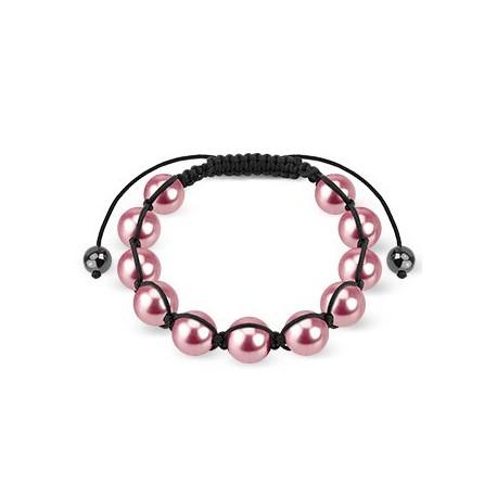 Bracelet Shamballa avec billes perles roses