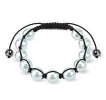 Bracelet Shamballa avec billes perles bleu lumière