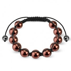 Bracelet Shamballa avec billes perles café