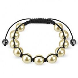 Bracelet Shamballa avec billes perles Sable Nacré