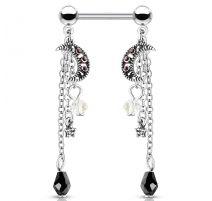 Piercing téton pendentif chaines lune et étoile