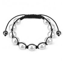 Bracelet Shamballa avec billes perles blanches