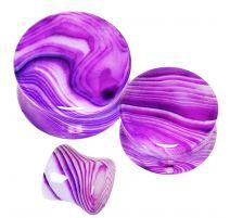 Piercing plug oreille pierre agate violet striée