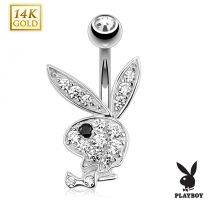 Piercing nombril Playboy Or blanc 14K