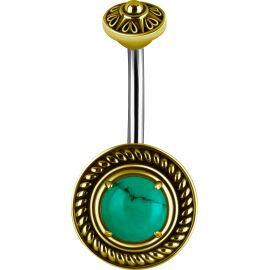 Piercing nombril bouclier tribal Turquoise verte
