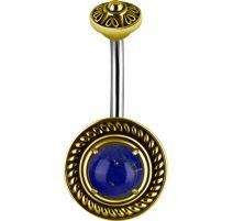 Piercing nombril bouclier tribal Lapis Lazuli