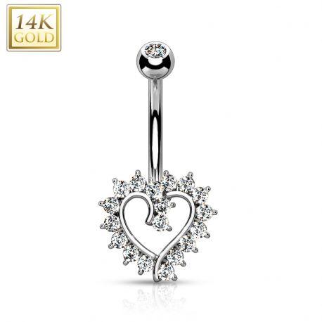 Piercing nombril Or blanc 14 carats coeur élégant strass