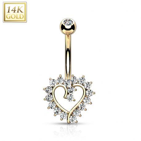 Piercing nombril Or jaune 14 carats coeur élégant strass