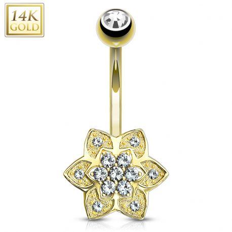 Piercing nombril Or jaune 14 carats fleur à 6 pétales