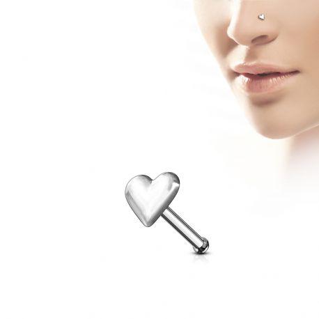 Piercing nez Argent 925/1000 Tige Droite Coeur - Bijou Piercing Nez