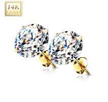 Paire Boucles d'oreille Clous Pierre Ronde Or Jaune 14 carats