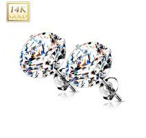 Paire Boucles d'oreille Clous Pierre Ronde Or Blanc 14 carats