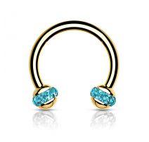 Piercing fer à cheval doré boule cristaux turquoise