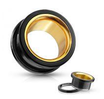Piercing tunnel oreille acier noir et intérieur doré