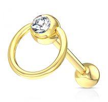 Piercing langue esclave acier doré cristal