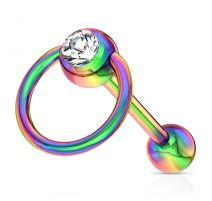 Piercing langue esclave acier multicolore cristal