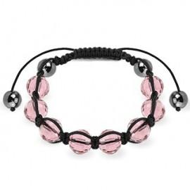 Bracelet Shamballa avec billes à facettes roses